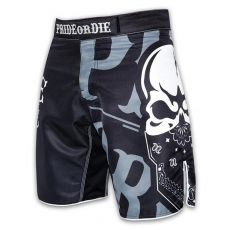 MMA FIGHTSHORTS PRIDE OR DIE RECKLESS - BLACK/WHITE